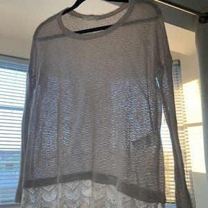 Sheer Free People sweater with lace trimming